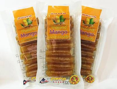 MANGO Sheet Sticky Chewing Dried Delicious Thai Fruit - 3Pcs