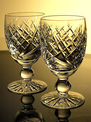 Waterford Crystal Donegal Claret Wine Glass Set of Two, Vintage, Ireland