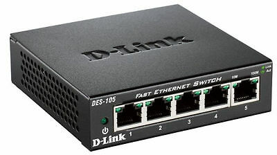 D-Link 5-Port 10/100 Fast Ethernet LAN Switch Network Hub Wired RJ45 Splitter