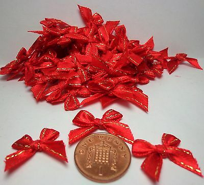 1:12 Scale Tiny 15 Bows (Red) For making card ,decoration