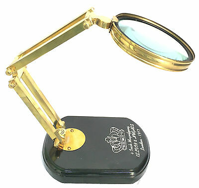 Antique Brass Magnifying Glass With Wooden Base Nautical Table Top Magnifier