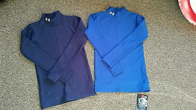 2 Boys Under Armour cold compression base layer tops navy & royal blue BNWT