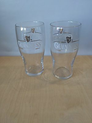 Two Used Guinness Embossed Pint Glass - Ideal for Home Bar - PUB