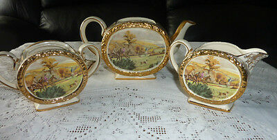 Sadler Barrel Shaped Teapot Jug Sugar Hunting Scene Horses Dogs Lovely Display