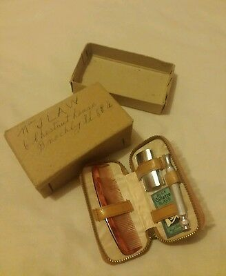Vintage style small brown men's grooming set with its box **