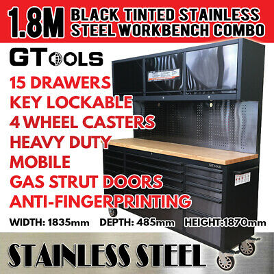 Black Tinted Stainless Steel Garage Workshop Storage Workbench System Tool Chest