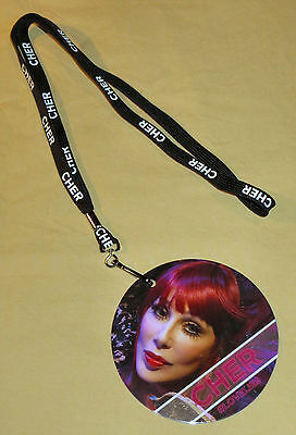 """Cher 2014 """"Dressed To Kill"""" Tour 2 Sided Pass with Lanyard... New!!"""