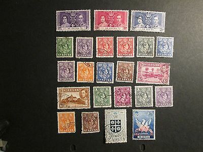 St Lucia 1937-51 Commemoratives and  definitives selection Fine Used