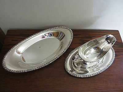 Vintage Henley Oneida Silverplate Gravy Boat with Underplate & Serving Dish