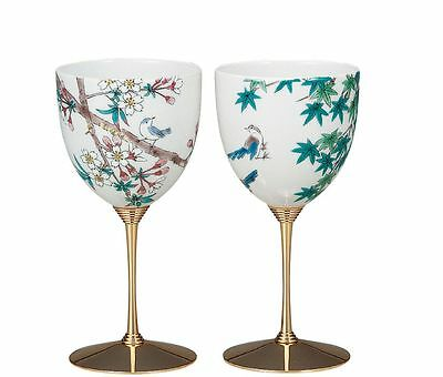 Kutani Wine Glass cup  Porcelain Japanese bowl SmallBird (set of 2)