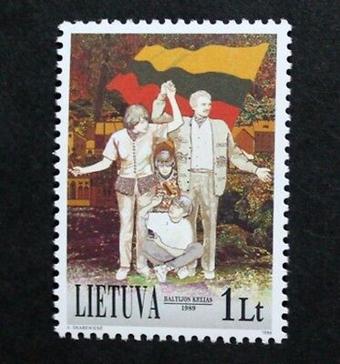 10th anniversary of the Baltic chain stamp, 1999, Lithuania, SG ref: 709, MNH