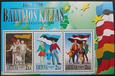 10th anniversary of the Baltic chain stamp sheet, 1999, Lithuania, SG ref: MS710