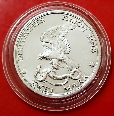 2 Mark 1913 German States Prussia Defeat of Napoleon 90% silver coin CAPSULED