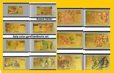 7 ITALY GOLD BANKNOTES 24 KT Color GOLD FULL 3D NOTE Italian SET