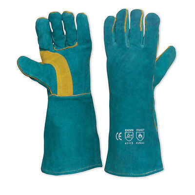 Prochoice Pyromate WELDING GLOVES 406mm GREEN, Left Hand Pair, Gold Kevlar