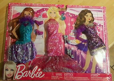 * New* X3 Mattel Barbie Doll Fashionistas Clothes Fashion Dress Outfits Glam Set