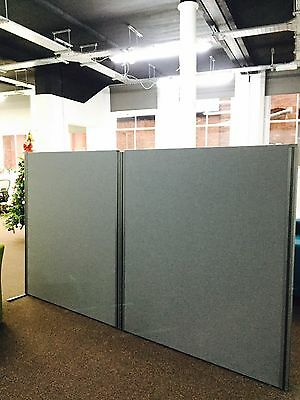 Two 4ft 7x 5ft 2 Office Room Dividers Covered In dark Grey Fabric With Two Feet