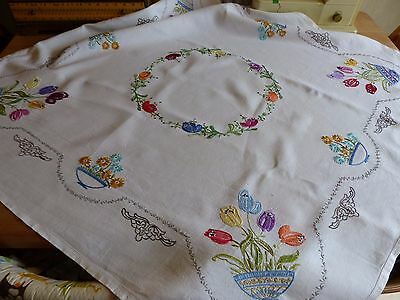 Stunning Vintage Linen Hand Embroidered Tablecloth ?raised Florals Tulips