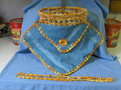 Vintage Cloths Pin Holder - Crochette With Washcloths - Great Condition!!!