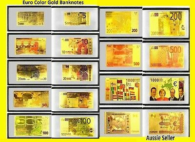 9 24Kt Gold Euro Banknotes Coloured Gold Bank Note Europe Set Gift $4.10/note
