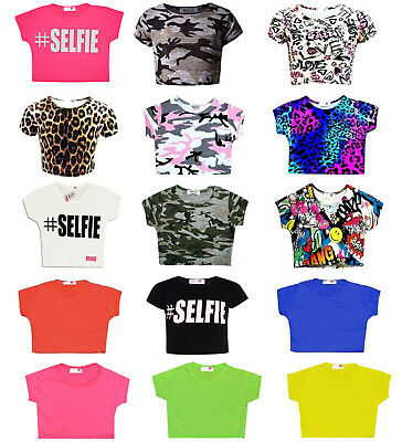 Girls Print Crop Top Kids Plain Short Sleeve Summer T-Shirts Dance 7-13 Years