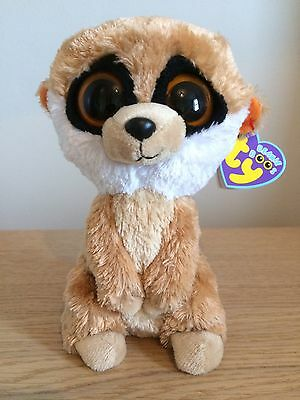 """Genuine TY Beanie Boo (Boos) Rebel the Meerkat 6"""" Solid Eyes with Tags"""