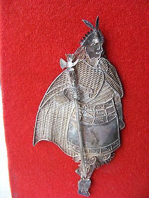 Vintage Silver Filigree Native American Indian Handmade Figure Mounted Apache