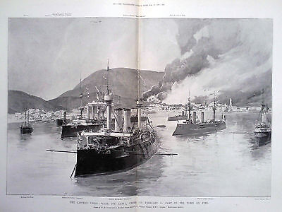 1897 Print Scene Off Canea,crete,part Of The Town On Fire -- Manitoba Cowboys