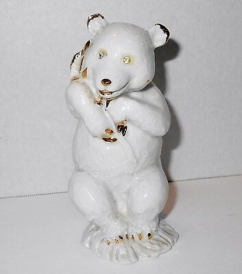 Polar Bear Figurine Capodimonte Animal Olive Branch Peace Rhinestone Eyes