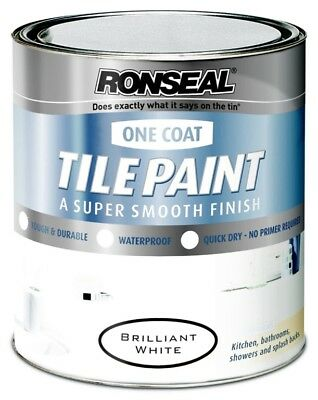 Ronseal One Coat Tile Paint 750ml Paint In Magnolia & White Satin for Kitchen