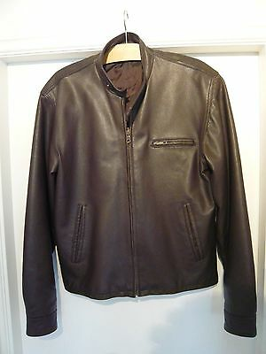 Mens Brown Zipped Slim Fit Leather Biker Jacket Size Large