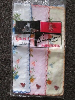 Vintage NEW pack of 11 hankies handkerchiefs 100% cotton pink blue yellow floral