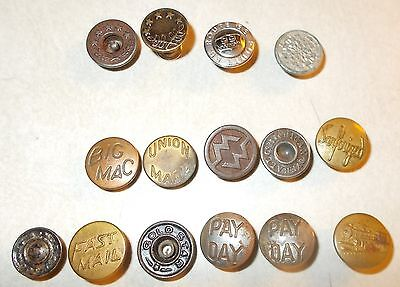 Antique / Vintage Lot of 15 Metal Overalls Studs Buttons Company Names / Logos