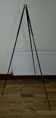 vintage brass camera tripod fully adjustable in original leather carry case