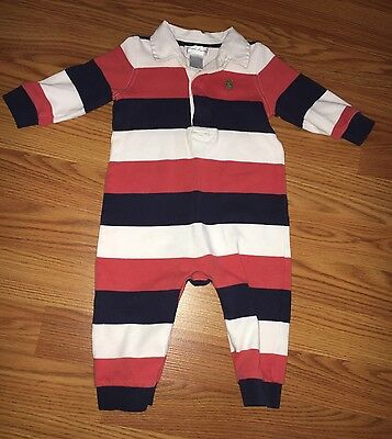 Baby Boy Ralph Lauren White Navy Blue Red Striped One Piece Outfit 9 Months
