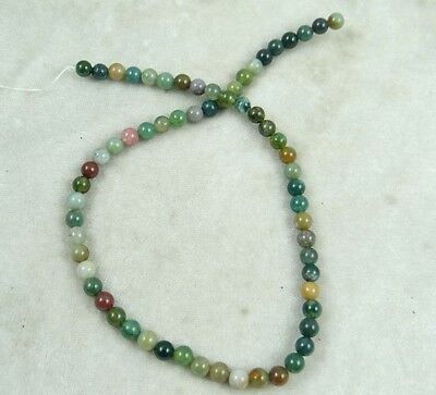 """4MM Natural Round smooth Indian agate Jewelry Making loose GEM beads strand 15"""""""