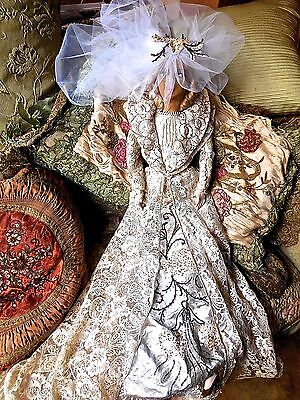 "Antique Vintage c1920s  Boudoir Bed Doll Bride Lace Tulle Beaded Trim 32"" Tall"