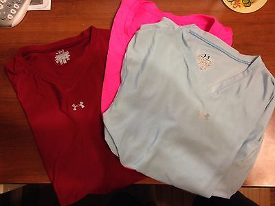 2 Under Armour Women's workout shirts cardinal red and sky blue
