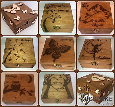 Personalised Wood Keepsake Box Many Sizes & Designs 12 16 20 32cm Christmas Gift