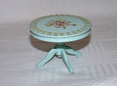 1/12th Scale Hand Painted Decorated Dolls House Antique Style Pedestale Table