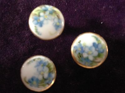 Three 3 Antique or Vintage Hand Painted Round Floral Porcelain Stud Back Buttons