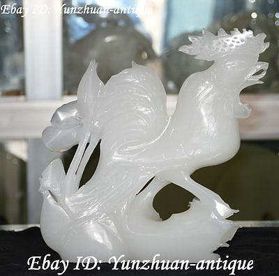 100% China Natural White Jade Carving Zodiac Year Rooster Chicken Chook Statue