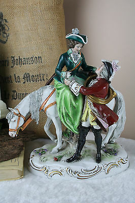 German porcelain marked Alsbach Figurine group hunt lady horse 1960's