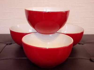 Set of four (4) red cereal / soup / dessert bowls - brand new