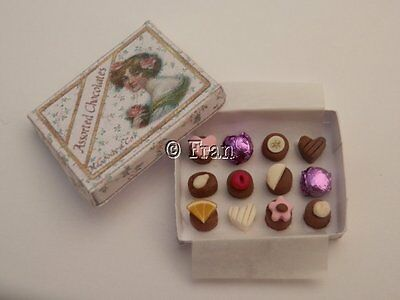 Dolls house food:Handmade box of assorted  chocolates  -By Fran