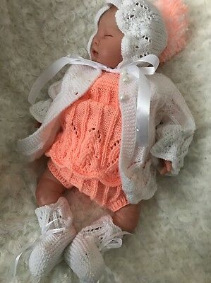"New: Pretty Knitted 5 Piece Outfit In For 22"" Reborn Baby Girl"