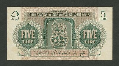 (BRITISH) MILITARY AUTHORITY TRIPOLITANIA - 5 lire  1943-51   (Banknotes)