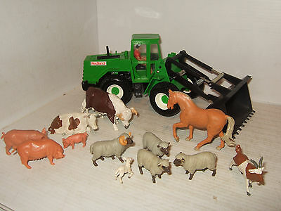 Britains Dynapac Front Loader /Tractor for Redland & 12 Farm Animals inc Bull,