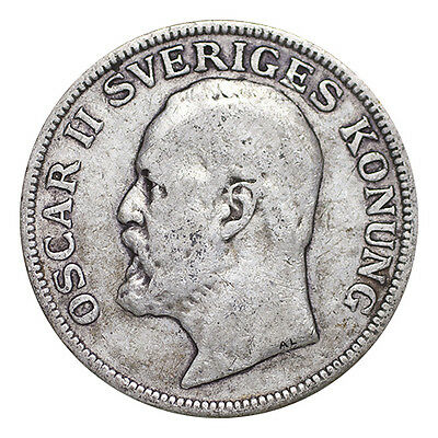 Sweden Silver Coin Oscar II 1907 1 Krona Fa-F or better