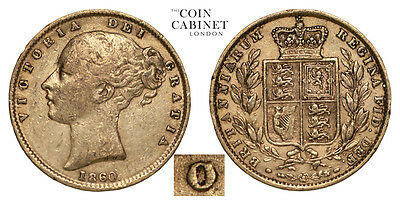 Great Britain Gold Coin Victoria 1860 Gold Sovereign O over C AVF